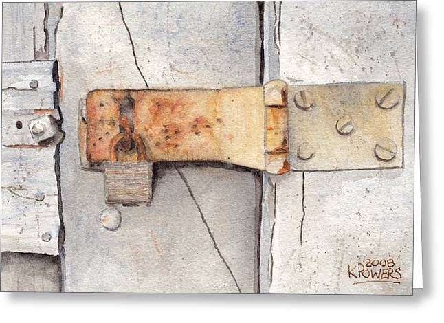 Garage Lock Number Two Greeting Card by Ken Powers