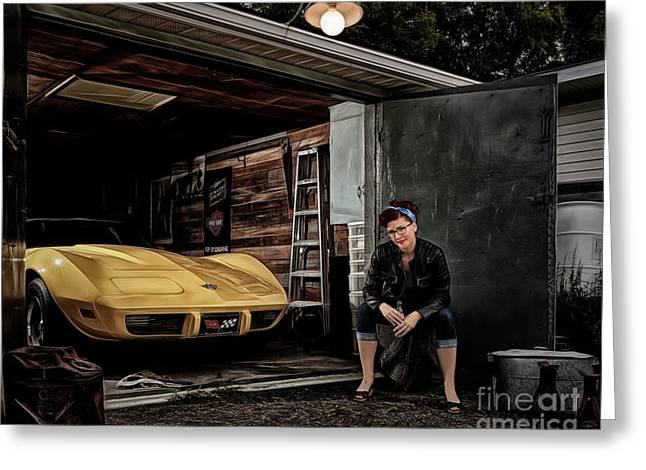 Garage Portrait Greeting Card by Brad Allen Fine Art