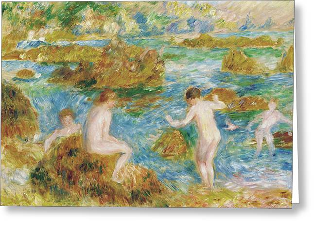 Garcons Nus Dans Les Rochers A Guernsey, 1883 Greeting Card by Pierre Auguste Renoir