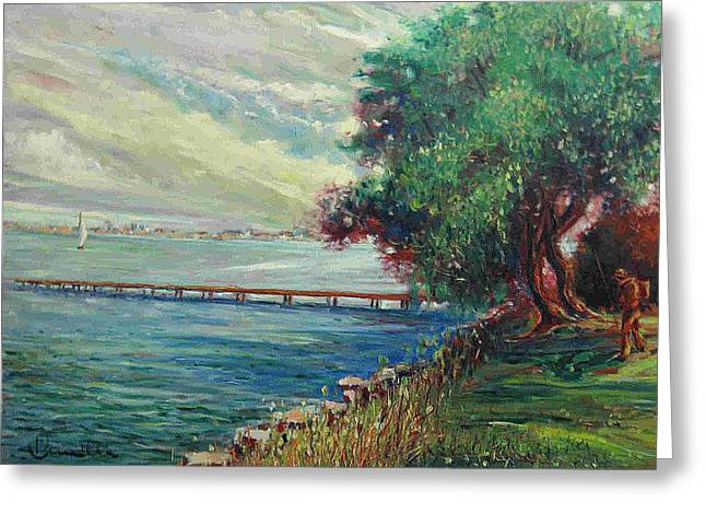 Greeting Card featuring the painting Garda Lake -lago Garda by Walter Casaravilla