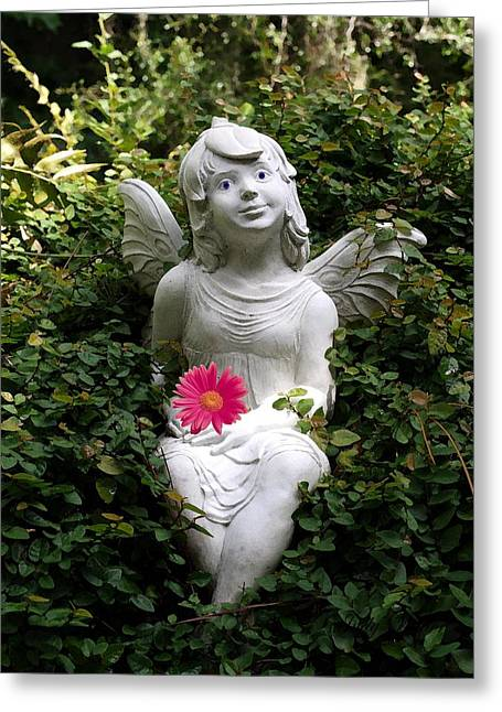 Garden Angel Greeting Card by Judy  Waller