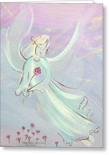 Garden Angel Greeting Card by Rosemary Babikan