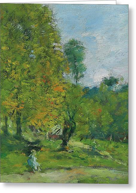 Garden At Fervaques Greeting Card by Eugene Louis Boudin
