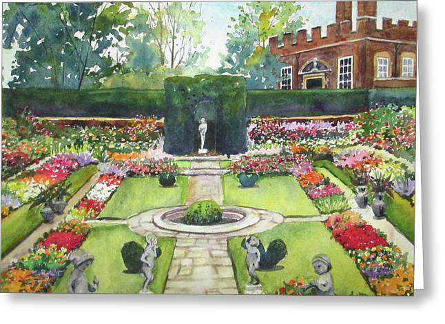 Greeting Card featuring the painting Garden At Hampton Court Palace by Susan Herbst