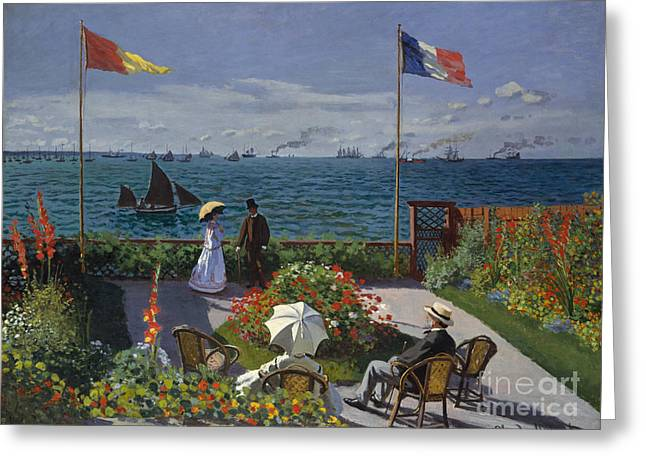 Garden At Sainte Adresse, 1867 Greeting Card