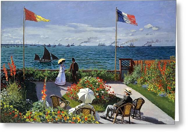 Garden At Sainte Adresse By Claude Monet Greeting Card