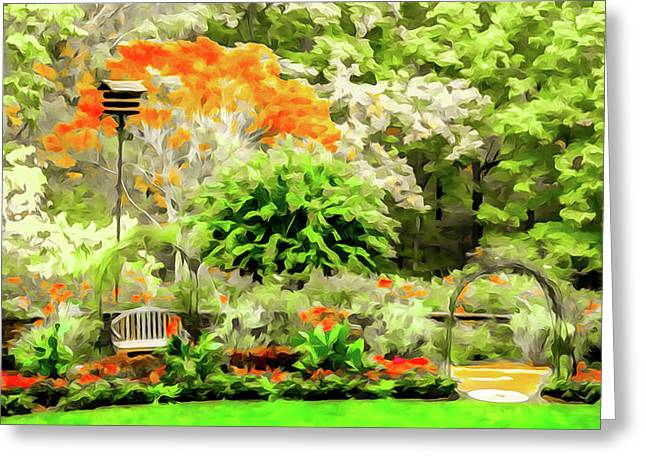 Garden At The Manor House Greeting Card