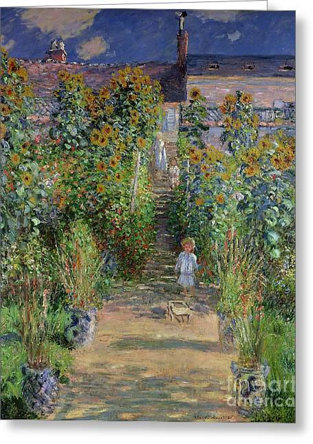 Le Jardin Greeting Cards - Garden at Vetheuil Greeting Card by Claude Monet