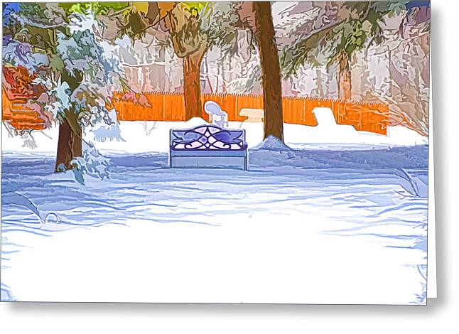 Garden  Bench With Snow Greeting Card by Lanjee Chee