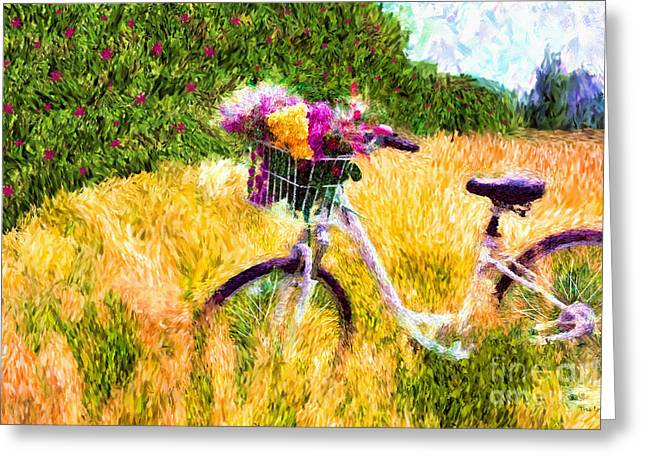 Garden Bicycle Print Greeting Card