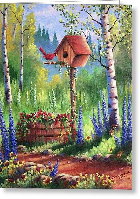 Garden Birdhouse Greeting Card by David G Paul