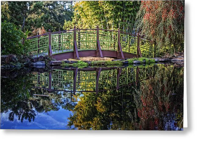 Garden Bridge Greeting Card by Debra and Dave Vanderlaan