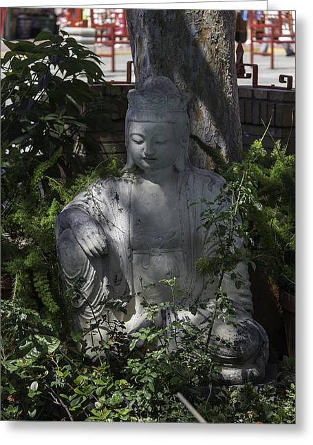 Garden Buddha Greeting Card by Teresa Mucha