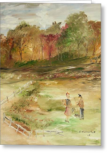 Garden By The Fence Greeting Card by Edward Wolverton