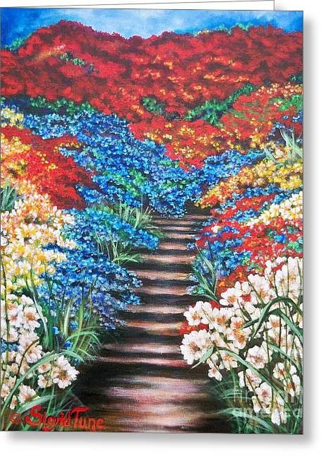Red White And Blue Garden Cascade.               Flying Lamb Productions  Greeting Card