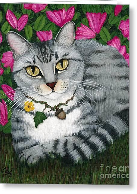 Garden Cat - Silver Tabby Cat Azaleas Greeting Card