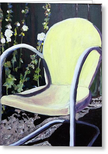 Garden Chair Greeting Card by Debbie Phillips Conejo
