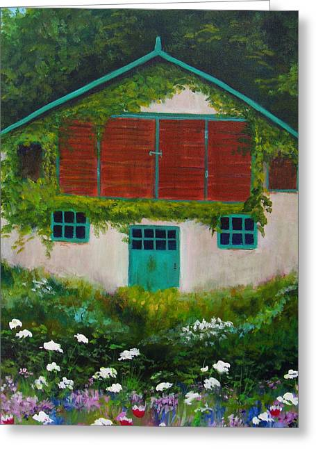 Garden Cottage Greeting Card by Anne Marie Brown