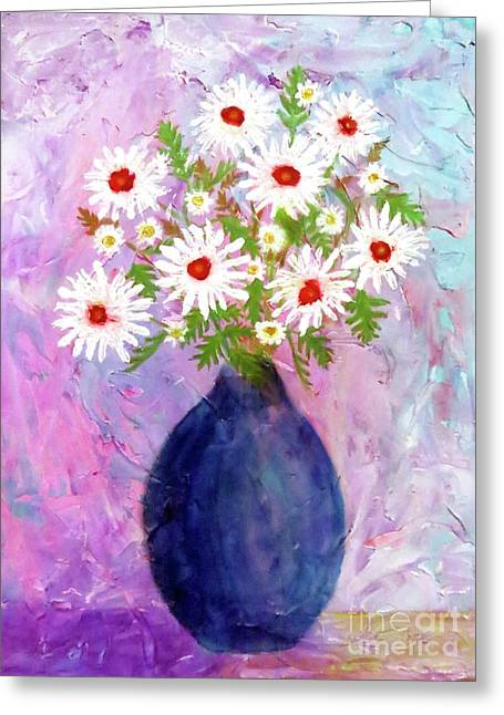 Garden Daisies Cobalt Vase Greeting Card by Desiree Paquette