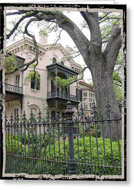 Garden District House Greeting Card by Linda Kish