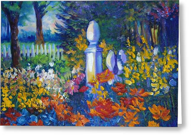White Pickett Fences Greeting Cards - Garden Fencepost Greeting Card by Judy Groves