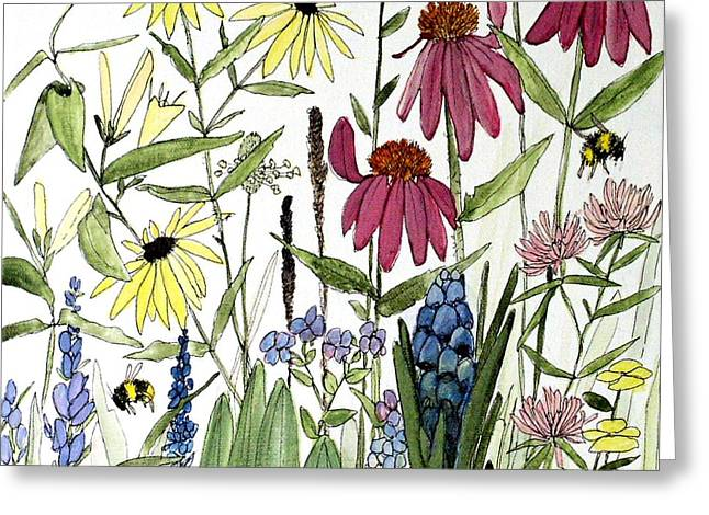 Garden Flowers With Bees Greeting Card