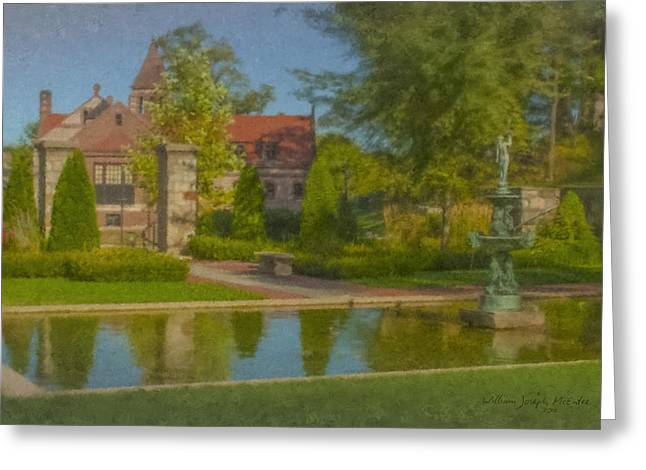Garden Fountain At Ames Free Library Greeting Card