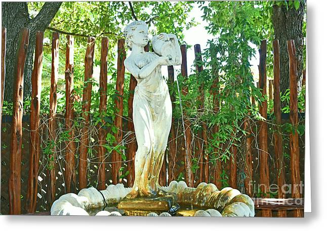 Garden Fountain Greeting Card by Ray Shrewsberry