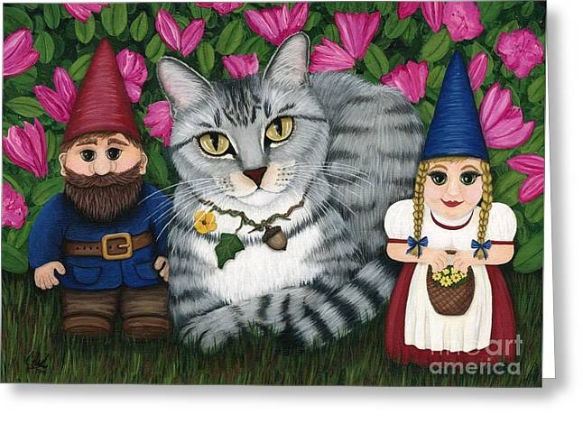 Garden Friends - Tabby Cat And Gnomes Greeting Card