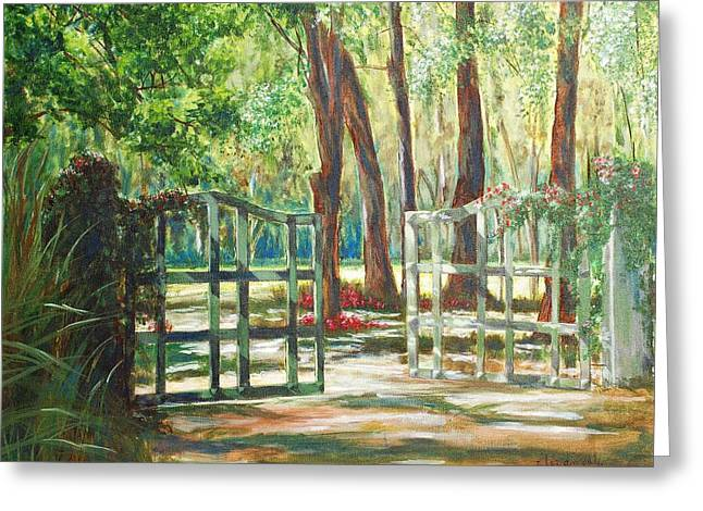 Garden Gate Greeting Card by Beth Maddox