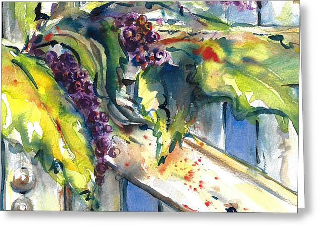 Garden Gate In Fall With Poke Berries  Greeting Card