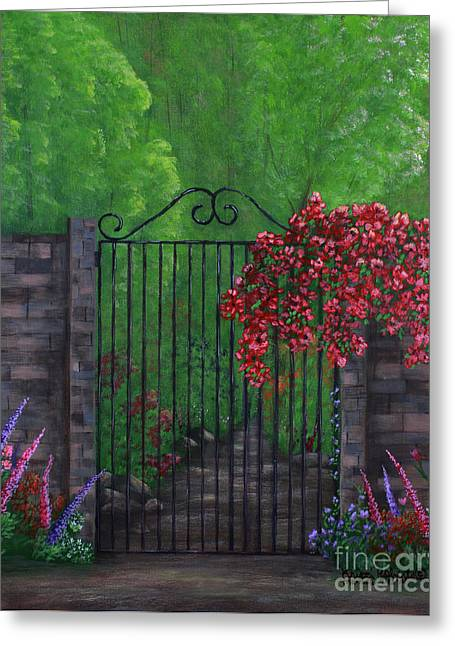 Greeting Card featuring the painting Garden Gateway by Kristi Roberts