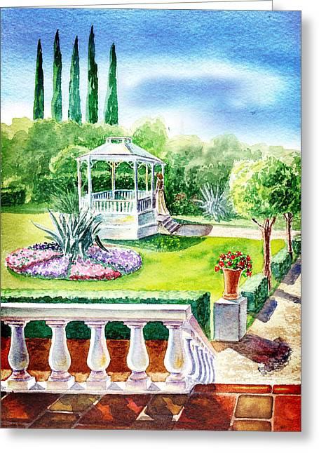 Garden Gazebo Greeting Card by Irina Sztukowski