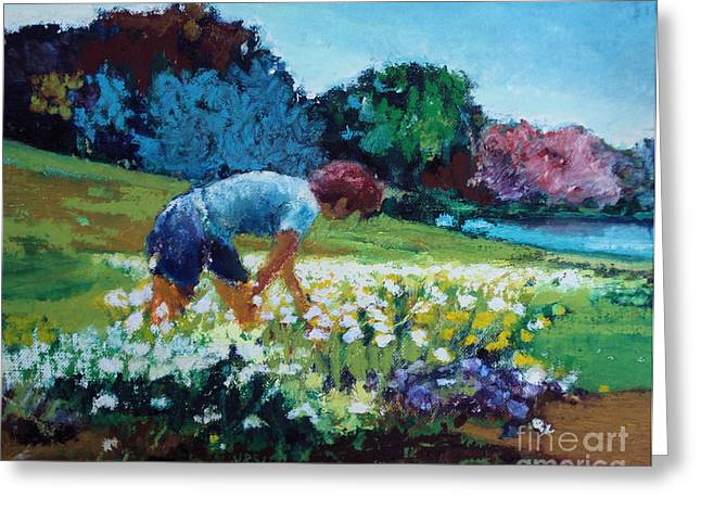 Greeting Card featuring the painting Garden Girl by Diane Ursin