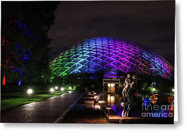 Greeting Card featuring the photograph Garden Globe At Night by Andrea Silies