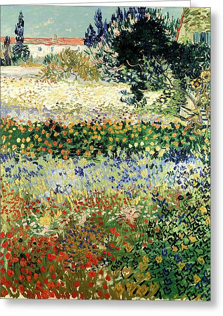 Greeting Card featuring the painting Garden In Bloom by Van Gogh