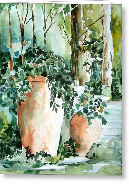 Garden In Capri Greeting Card by Mindy Newman