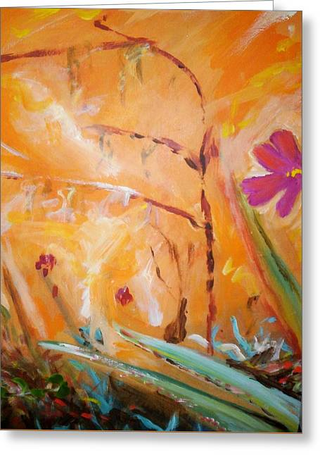 Greeting Card featuring the painting Garden Moment by Winsome Gunning