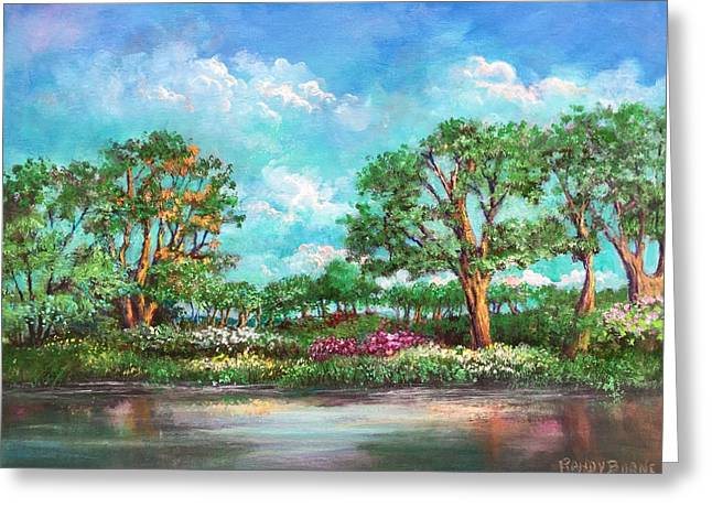 Greeting Card featuring the painting  Summer In The Garden Of Eden by Randol Burns