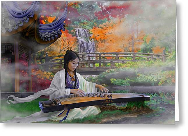 Garden Of Peace - Girl With Guzheng Greeting Card