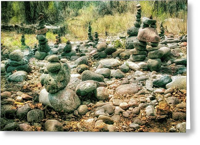Garden Of Rock Cairns At Buddha Beach - Sedona Greeting Card by Jennifer Rondinelli Reilly - Fine Art Photography