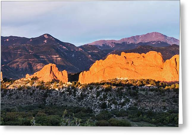 Garden Of The Gods And Pikes Peak At Sunrise - Colorado Springs Greeting Card by Brian Harig