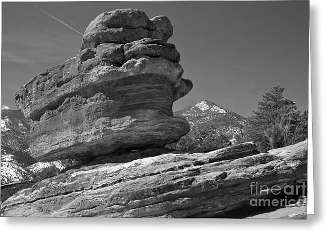 Greeting Card featuring the photograph Garden Of The Gods Balanced Rock Black And White by Adam Jewell