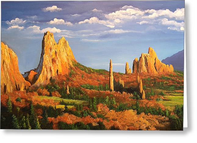 Garden Of The Gods Greeting Card by Connie Tom