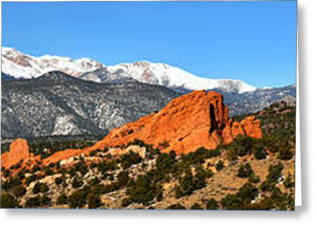 Greeting Card featuring the photograph Garden Of The Gods Extended Panorama by Adam Jewell