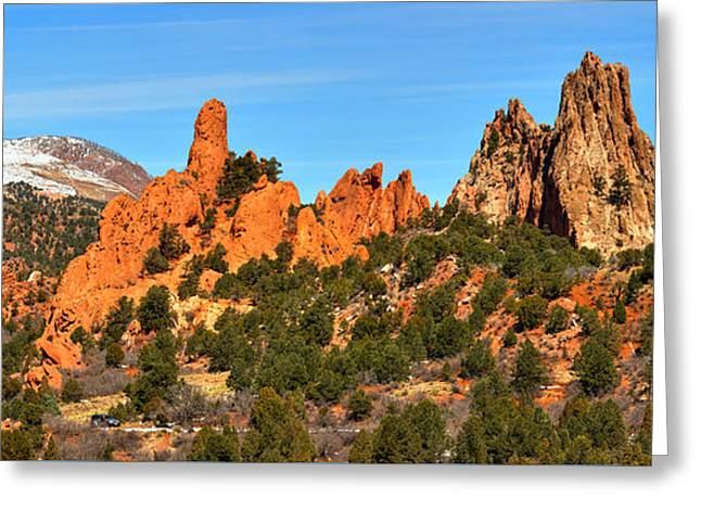 Greeting Card featuring the photograph Garden Of The Gods High Point Panorama by Adam Jewell