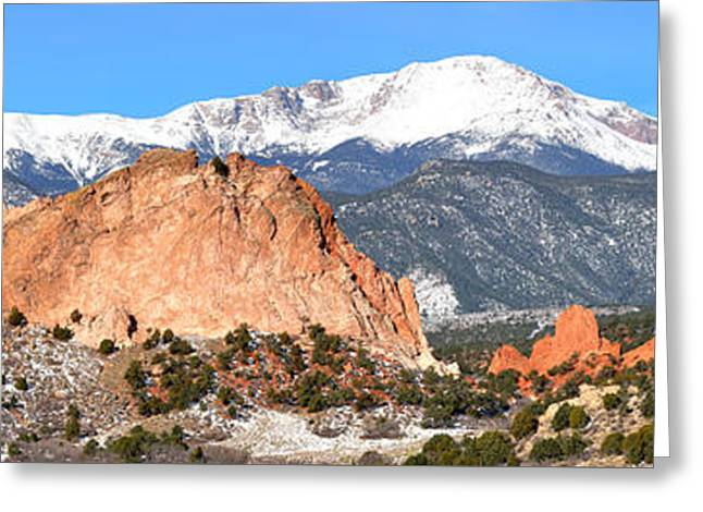 Greeting Card featuring the photograph Garden Of The Gods Panorama by Adam Jewell