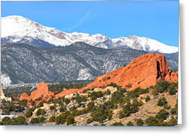 Greeting Card featuring the photograph Garden Of The Gods Red Rock Panorama by Adam Jewell