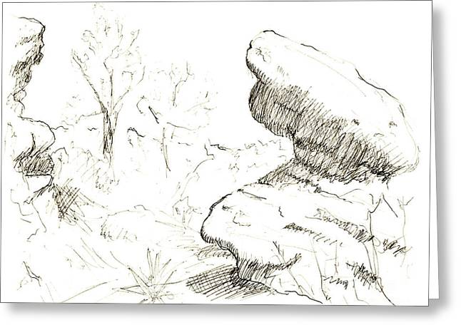 Garden Of The Gods Rocks Along The Trail Ink Drawing By Adam Lon Greeting Card by Adam Long
