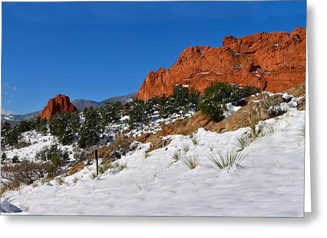 Greeting Card featuring the photograph Garden Of The Gods Snowy Blue Sky Panorama by Adam Jewell